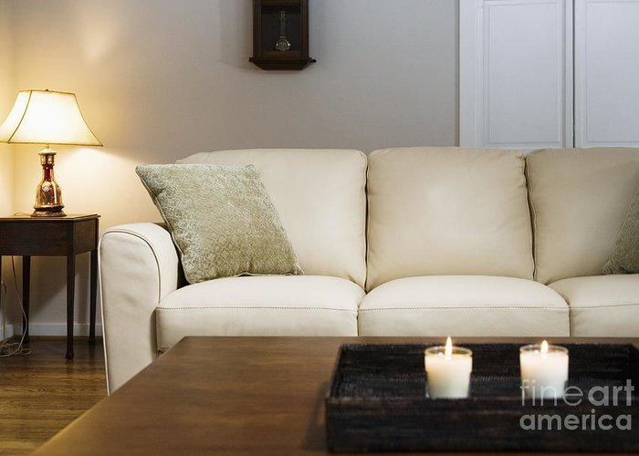 Candles Greeting Card featuring the photograph Candlelit Living Room by Andersen Ross