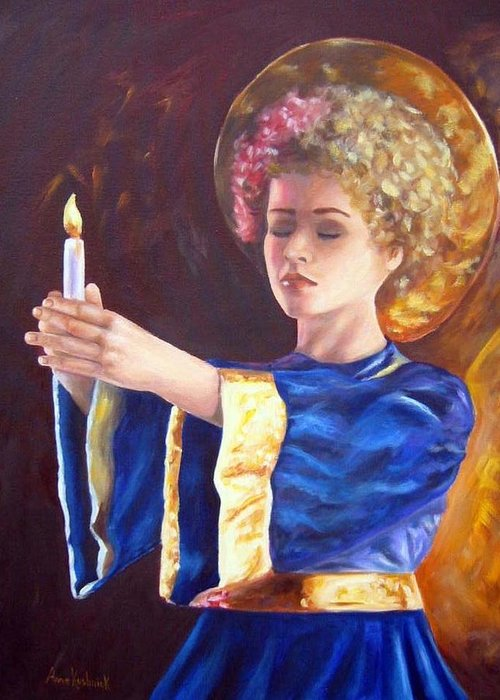 Portrait Greeting Card featuring the painting Candlemass by Anne Kushnick