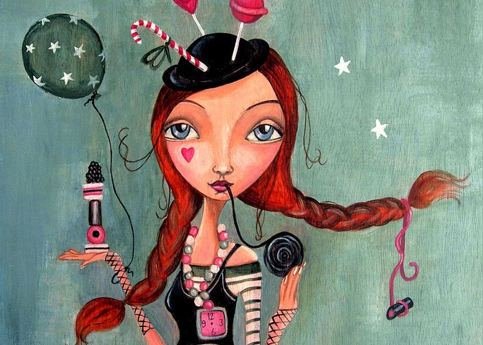 Cartita Design Greeting Card featuring the painting Candy Girl by Caroline Bonne-Muller