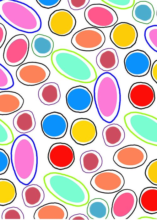 Louisa Greeting Card featuring the digital art Candy Spots by Louisa Knight