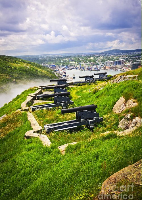 Cannons Greeting Card featuring the photograph Cannons On Signal Hill Near St. John's by Elena Elisseeva
