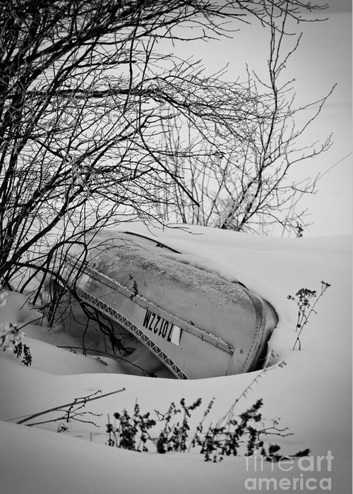 Canoe Greeting Card featuring the photograph Canoe Hibernation by Ever-Curious Photography