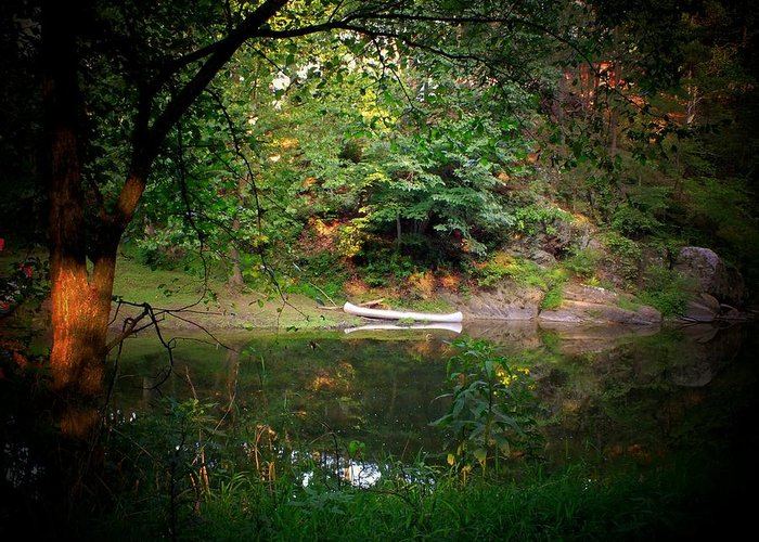 Canoe Greeting Card featuring the photograph Canoe On Cacapon by Michael L Kimble