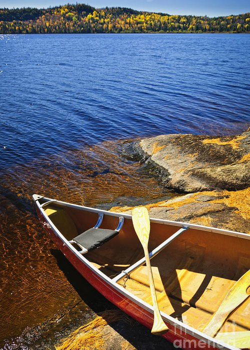 Canoe Greeting Card featuring the photograph Canoe On Shore by Elena Elisseeva