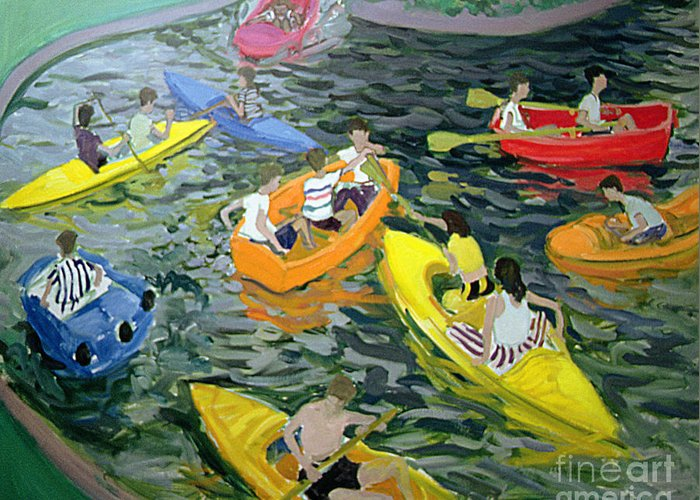 Canoe Greeting Card featuring the painting Canoes by Andrew Macara