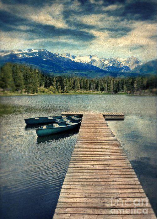Canoe Greeting Card featuring the photograph Canoes At Dock On Mountain Lake by Jill Battaglia
