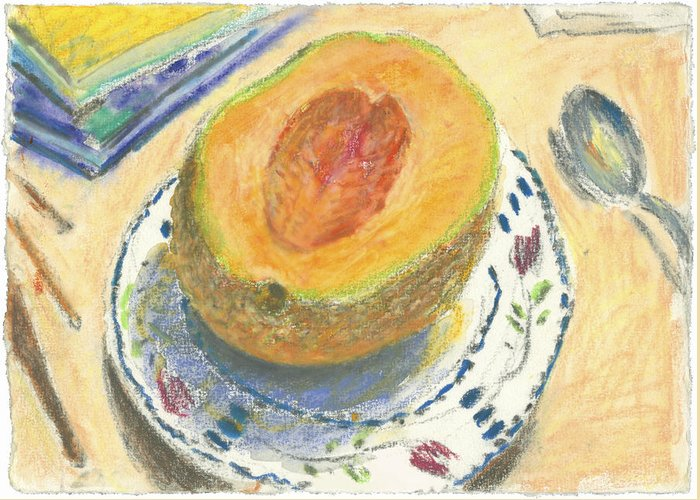 Fruit Greeting Card featuring the painting Canteloupe by Scott Bennett
