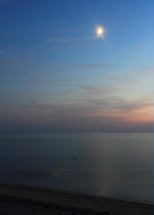 Moon Greeting Card featuring the photograph Cape Cod Bay Dusk Moon by John Burk