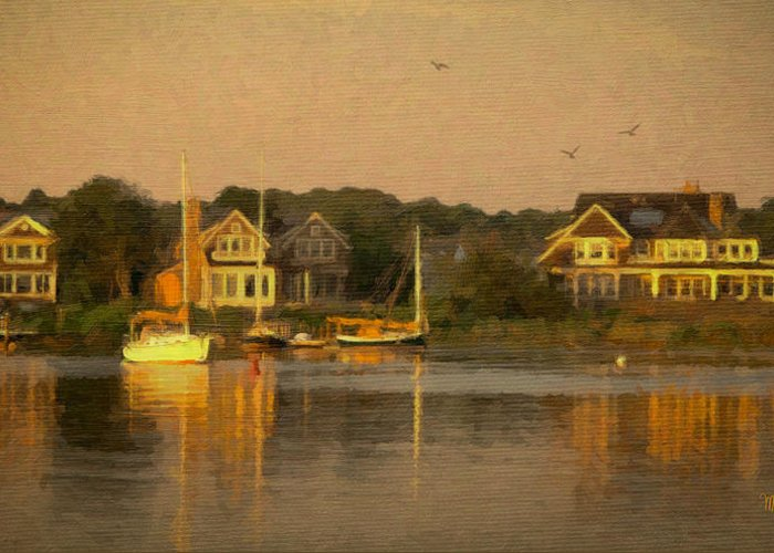 Cape Cod Greeting Card featuring the mixed media Cape Cod Evening by Michael Petrizzo