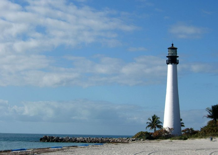 Lighthouse Greeting Card featuring the painting Cape Florida Lighthouse by Rosie Brown