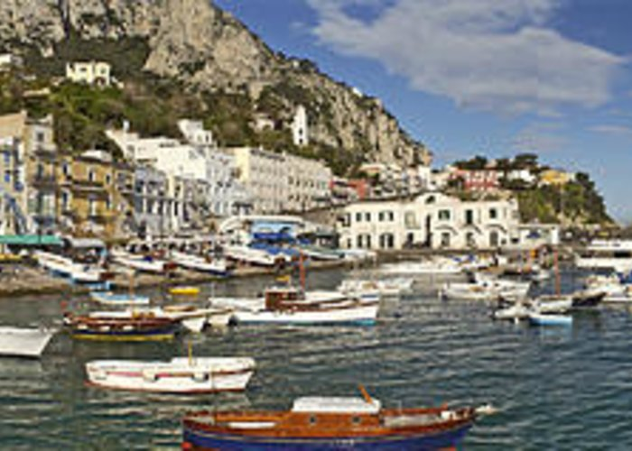 Capri Panorama Greeting Card featuring the photograph Caprii Italy Panorama by Larry Mulvehill