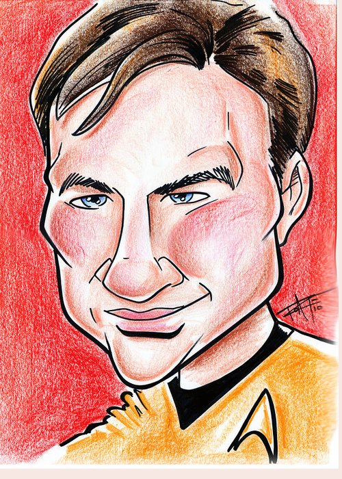 Big Mike Roate Greeting Card featuring the drawing Captain James T. Kirk by Big Mike Roate
