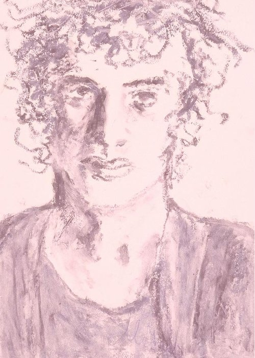Fine Art Greeting Card featuring the drawing Captive by Iris Gill