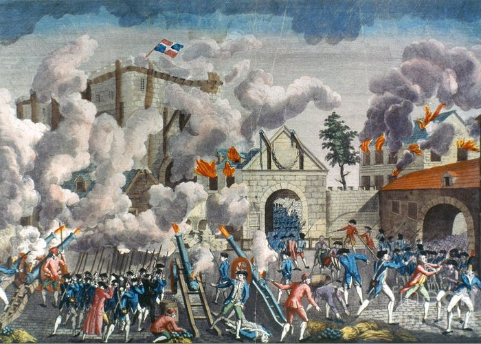 1789 Greeting Card featuring the photograph Capture Of Bastille, 1789 by Granger