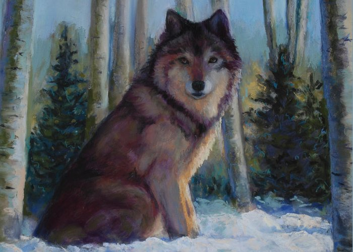 Wolf Greeting Card featuring the painting Captured By The Light by Billie Colson