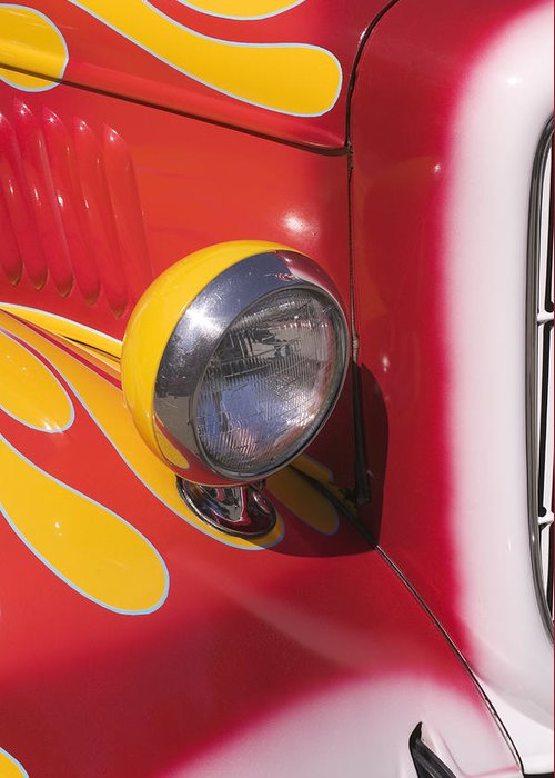 Car Greeting Card featuring the photograph Car Headlight by Garry Gay