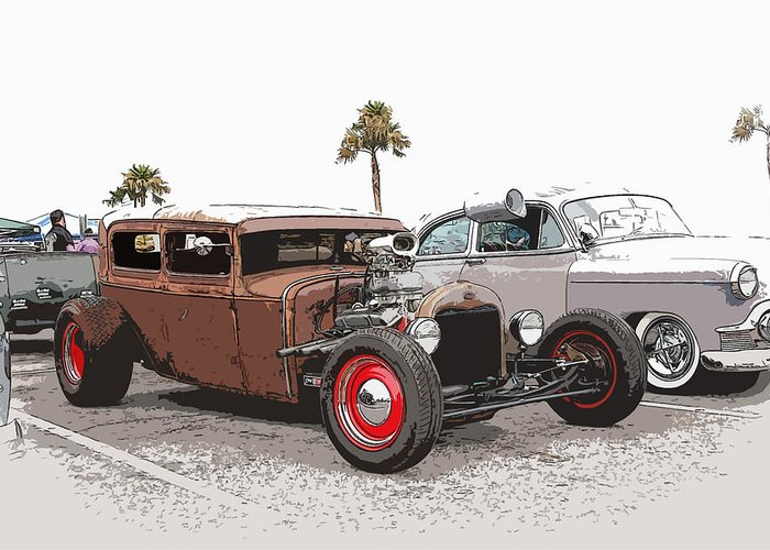 Model A Sedan Greeting Card featuring the photograph Car Show Cool by Steve McKinzie
