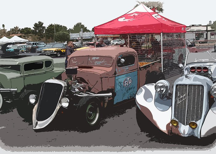 Chopped Greeting Card featuring the photograph Car Show Hot Rods by Steve McKinzie