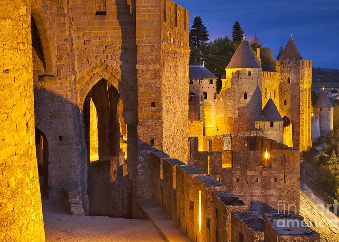 Architecture Greeting Card featuring the photograph Carcassonne Ramparts by Brian Jannsen