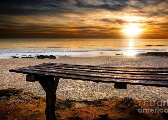 Abstract Greeting Card featuring the photograph Carcavelos Beach by Carlos Caetano