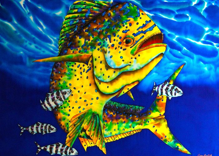 Mahi Mahi Painting Greeting Card featuring the painting Caribbean Bull by Daniel Jean-Baptiste