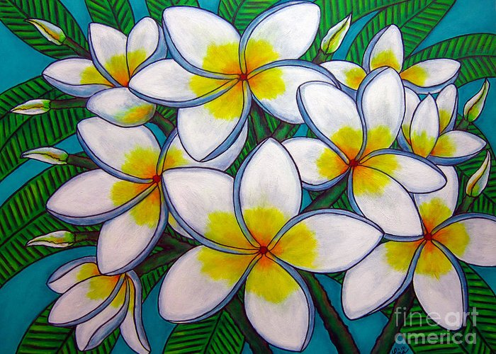 Frangipani Greeting Card featuring the painting Caribbean Gems by Lisa Lorenz