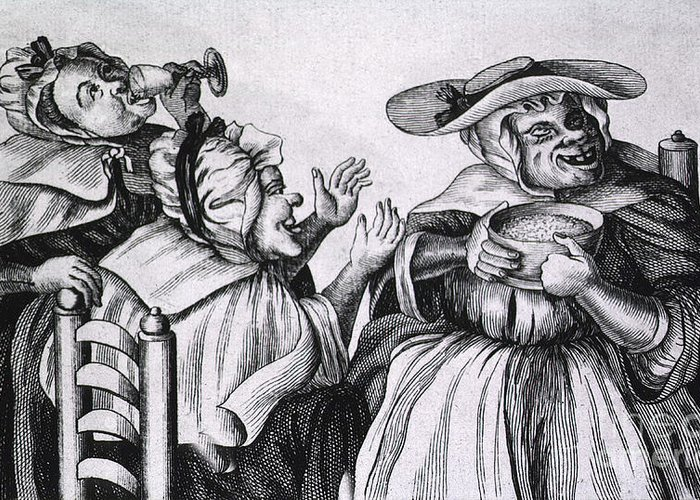 History Greeting Card featuring the Caricature Of Three Alcoholics, 1773 by Science Source