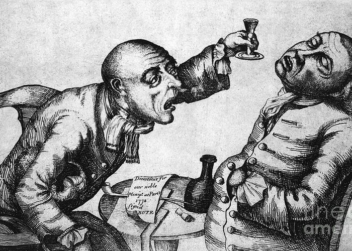History Greeting Card featuring the photograph Caricature Of Two Alcoholics, 1773 by Science Source