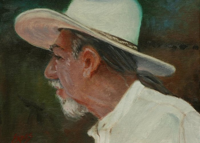 Cowboy Greeting Card featuring the painting Carlos by Linda Eades Blackburn