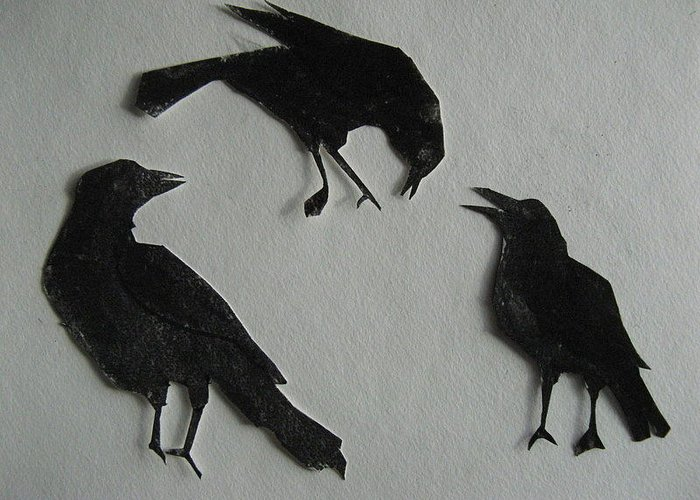 Crows Greeting Card featuring the painting Carl's Crows by Betty Pieper