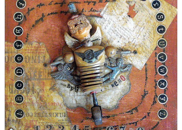 Carnival Greeting Card featuring the mixed media Carnival Boy by Anastasia Weigle