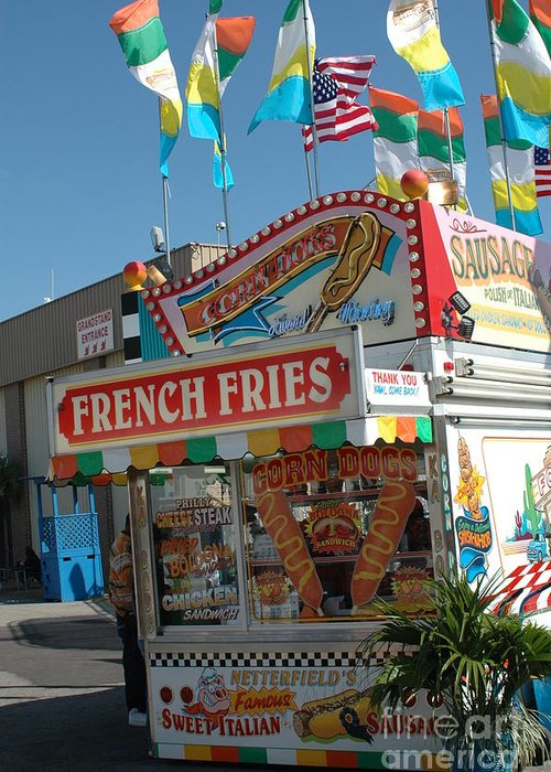 Carnival Art Photography Greeting Card featuring the photograph Carnival Festival Fun Fair French Fries Food Stand by Kathy Fornal