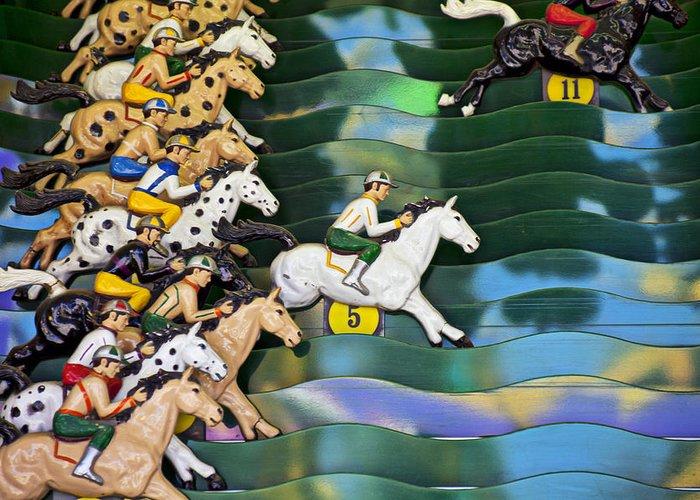 Carnival Horse Race Game Fair Greeting Card featuring the photograph Carnival Horse Race Game by Garry Gay