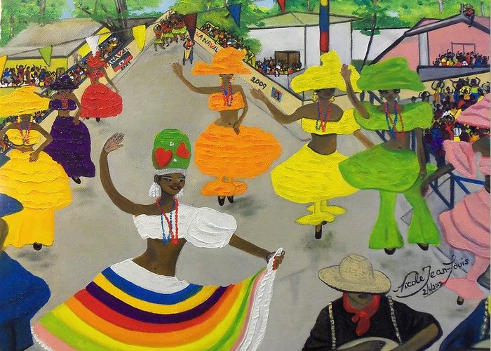 Carnival In Port-au-prince Haiti By Nicole Jean-louis Greeting Card featuring the painting Carnival In Port-au-prince Haiti by Nicole Jean-Louis