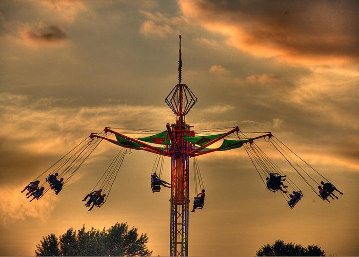 Sunset Greeting Card featuring the photograph Carnival Ride by Nicholas Grunas