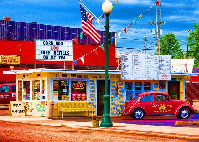 Automobile Greeting Card featuring the photograph Carol's Corner by Mike OBrien