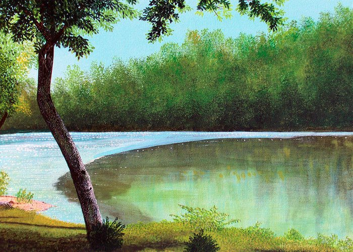 Landscapes Greeting Card featuring the painting Carol's Retreat by Herb Dickinson