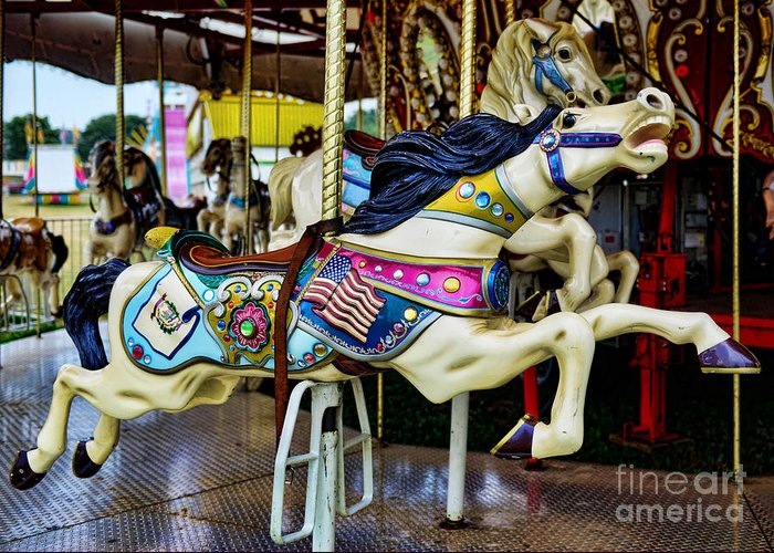Carousel Greeting Card featuring the photograph Carousel - Horse - Jumping by Paul Ward