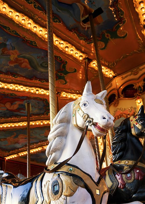Detail Greeting Card featuring the photograph Carousel Horse by Fabrizio Troiani