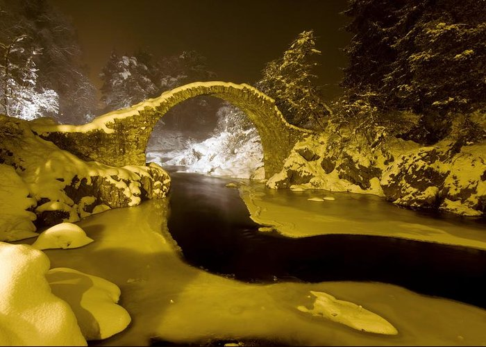 Carr Bridge Greeting Card featuring the photograph Carr Bridge At Night In Winter by Duncan Shaw