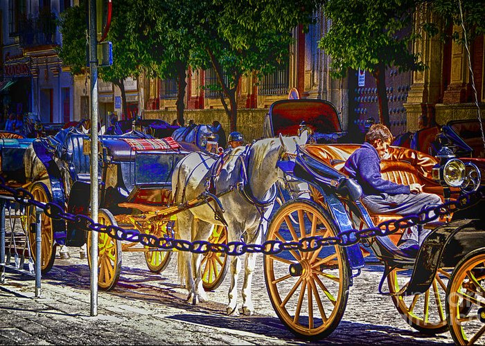 Spain Street Scanes Artistic Conceptions Greeting Card featuring the photograph Carrage Waiting by Rick Bragan