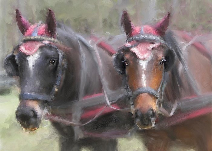Horse Greeting Card featuring the painting Carriage Horses Pleasure Pair by Connie Moses