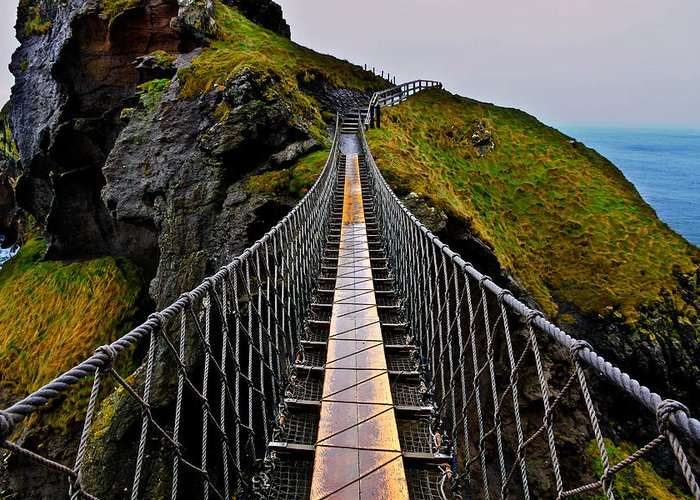 Rope Bridge Greeting Card featuring the photograph Carrick-a-Rede Rope Bridge by Justin Albrecht