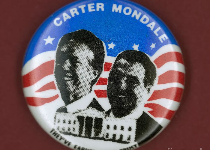 1980 Greeting Card featuring the photograph Carter Campaign Button by Granger