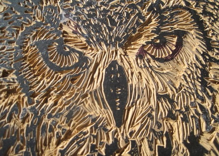 Owl Greeting Card featuring the relief Carved Eagle Owl by Julia Forsyth