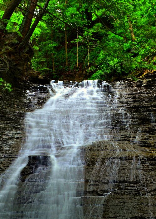Cascading Greeting Card featuring the photograph Cascading Falls by Frozen in Time Fine Art Photography