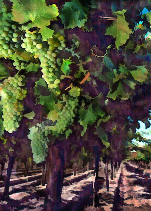 Wine Greeting Card featuring the painting Cascading Grapes by Elaine Plesser