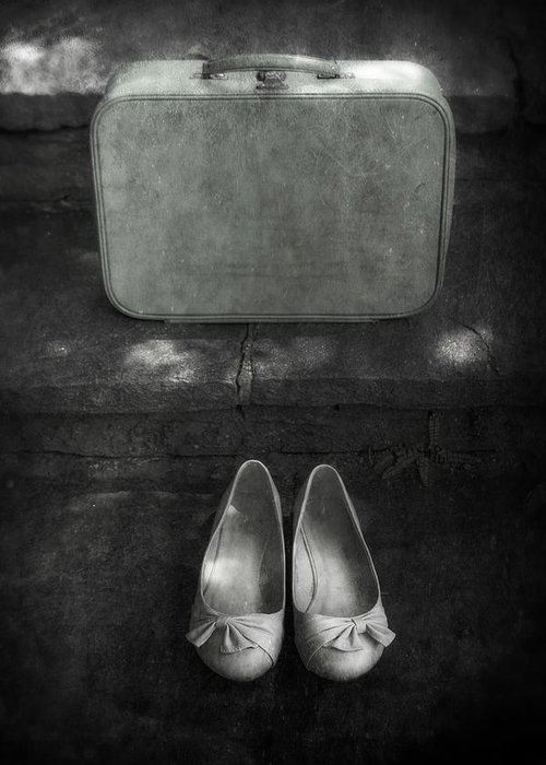 Suitcase Greeting Card featuring the photograph Case And Shoes by Joana Kruse