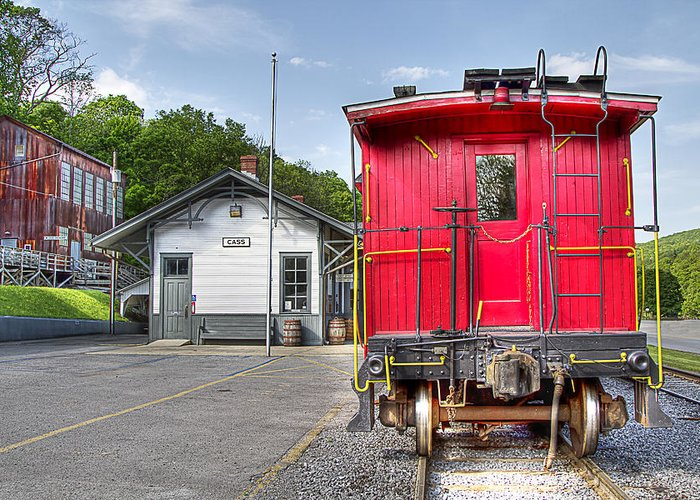 Locomotive cass Scenic Railroad west Virginia Scenic Rural Lumber Timber Cass steam Engines steam Locomotive Railroad Railway Caboose Greeting Card featuring the photograph Cass Caboose by Tom Steele