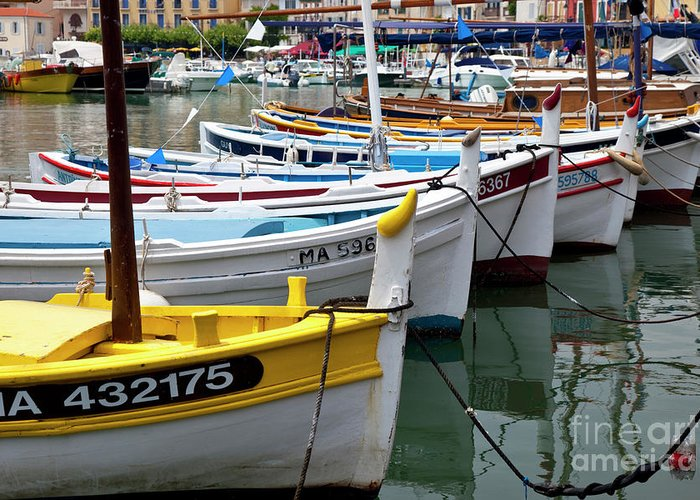Colorful Greeting Card featuring the photograph Cassis Boats by Brian Jannsen